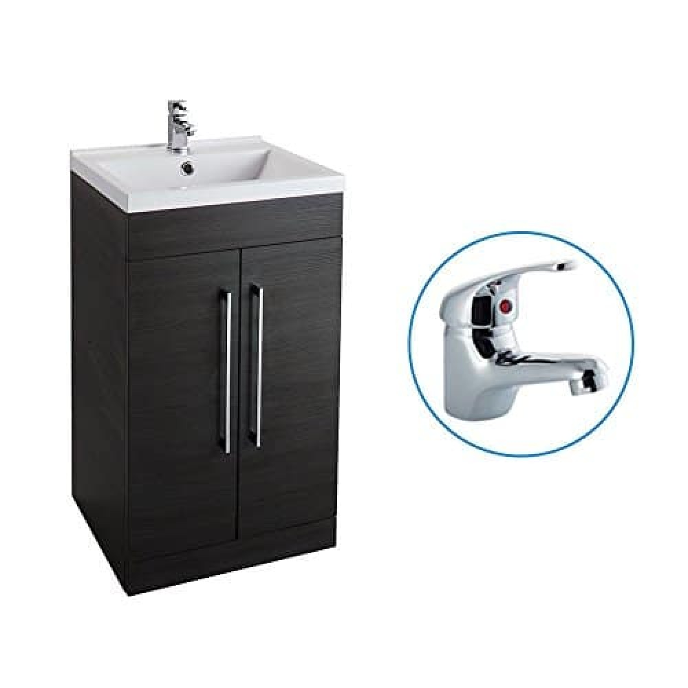 Black Ash 500mm Bathroom Basin Sink Vanity Unit Cabinet