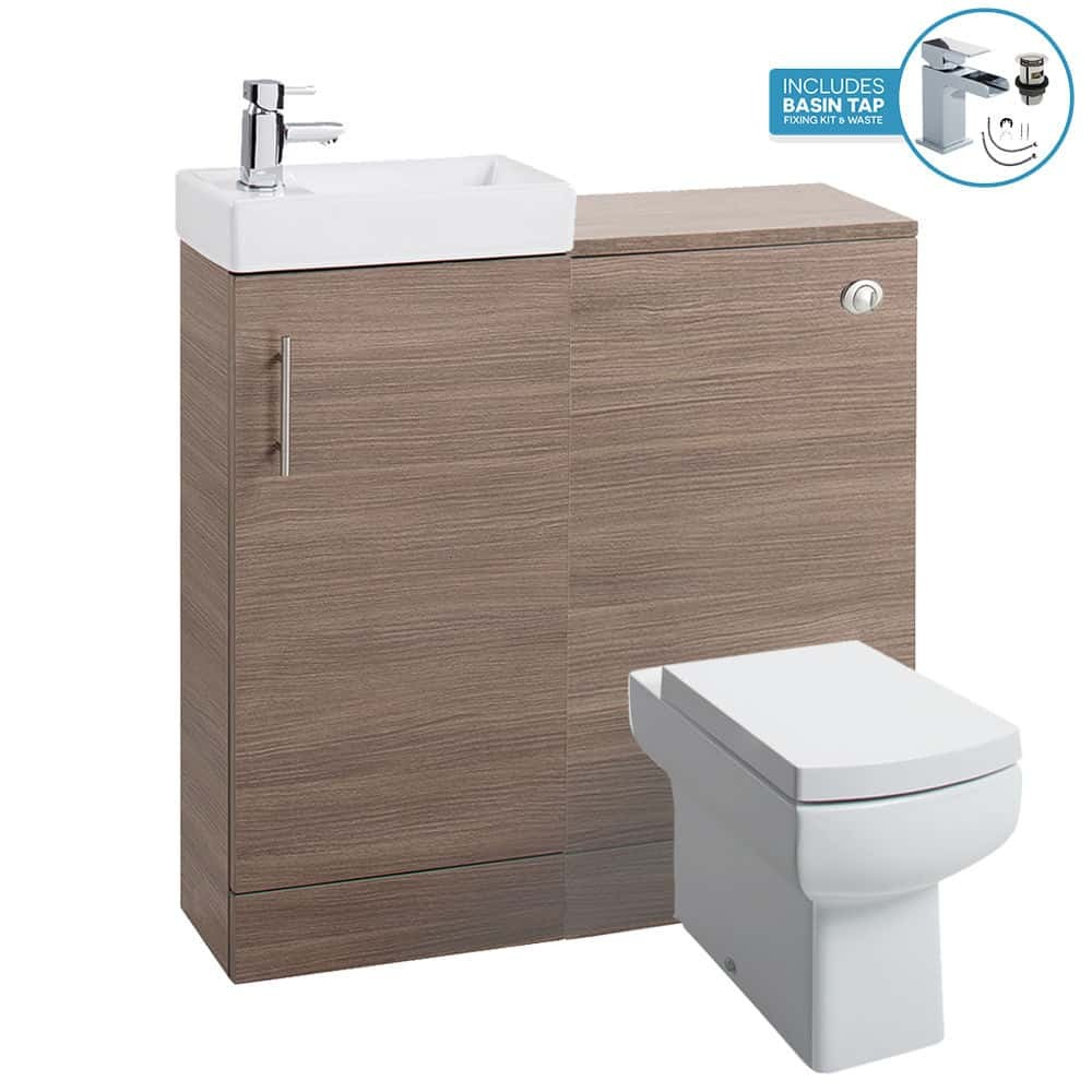 Medium Oak 800 Bathroom Vanity Basin Sink Back To Wall Toilet Unit Furniture Wc Fnx Bathrooms