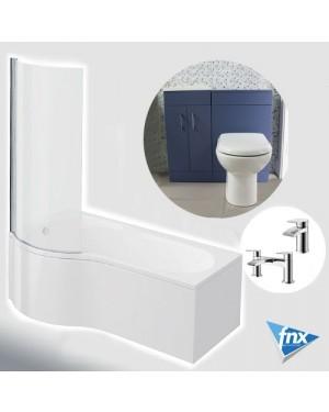 P Shape Left Hand Bathroom Suite in Matt Blue Vanity Unit BTW Pan Square Tap Set