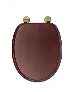 Croydex Mahogany Finish Wooden Toilet Seat With Brass Hinges