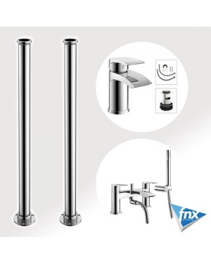 Sleek Square Freestanding bathroom Tap Set Bath Shower Mixer & Basin Tap & Waste