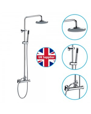 Round Shower Chrome Thermostatic Dual Rigid Riser Kit Modern Bathroom Over Head
