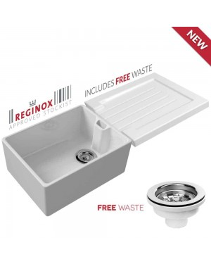 Reginox 60cm White Belfast Ceramic Kitchen Sink & Ceramic Grooved Sink Drainer