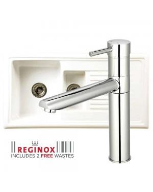 Reginox Kitchen Sink Ceramic Reversible Inset 1.5 Bowl & HUDSON BRUSHED Tap