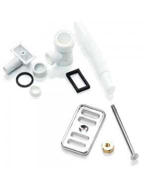 RAK Chrome Ceramic Kitchen Sink Basin Overflow Cover Plate & Bolt Plumbing Kit