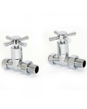 Chrome Straight Modern Cross Head Top Radiator Valve Pair Heated Towel Rail Rad