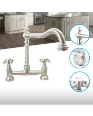 Tre Mercati French Classic Bridge Kitchen Sink Mixer Tap Pewter 186