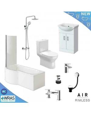 Complete P Shaped left hand Bathroom Suite Shower RIMLESS WC Toilet Vanity Unit Bath Taps
