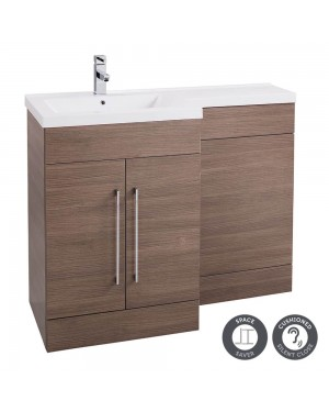 Medium Oak Left Hand Basin 1100mm L Shaped Bathroom Vanity Unit Sink Cabinet