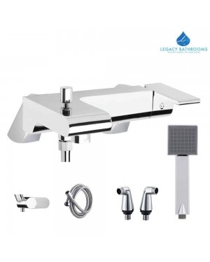 Modern Italian Bath Shower Mixer Tap Valve Chrome Brass Single Lever & Legs