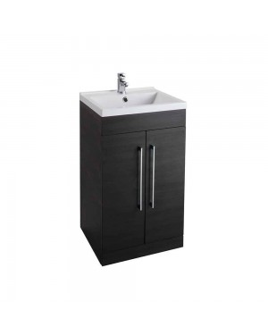 Luxury Black Ash 500 Bathroom Basin Sink Vanity Unit Cabinet Modern Square