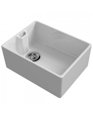 Reginox Belfast 600mm 1.0 Bowl Ceramic Kitchen Sink In White Reversible & Waste