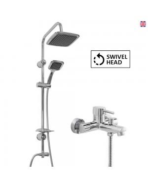 Black Overhead Shower Kit & Round Bath Shower Mixer