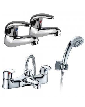Low Pressure Deck Mounted Bathroom Bath Shower Mixer Tap Hand Shower & Basin Tap