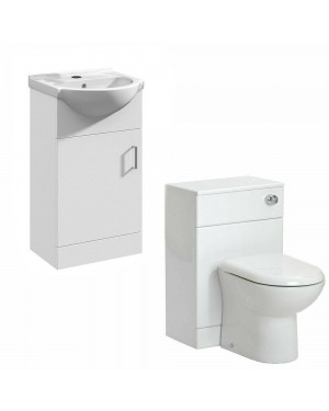 450mm Vanity Basin Sink Unit Cabinet & 500 Back To Wall WC Pan