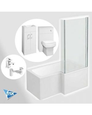 Gloss White L Shape Right Hand Bathroom Suite Vanity Unit BTW Pan Hero Tap & Waste Set