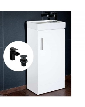 Compant Vanity Unit Including Ceramic Basin/Sink & Black Waterfall Tap with Waste