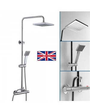 Square Thermostatic Modern Chrome Over Head Bathroom Shower Kit Bar Valve Mixer