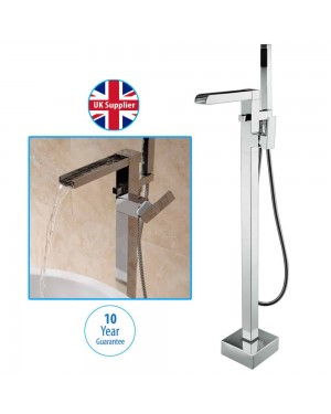 Free Standing Bath Shower Mixer Tap Floor Mounted Chrome Metal Over Bath