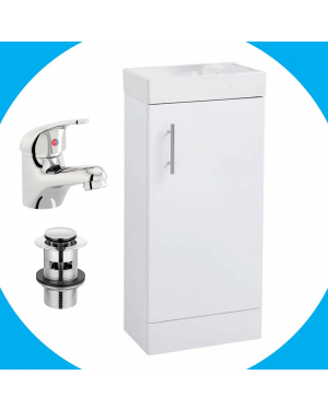 White Compact Vanity Unit With Basin Tap & Waste