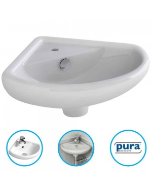 Bathroom Cloakroom Ceramic Compact Corner Small Wash Basin Sink