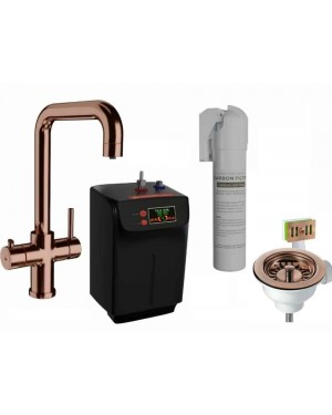 Kitchen Sink Mixer Boiling Water Tap Incl FREE Kitchen Waste Copper