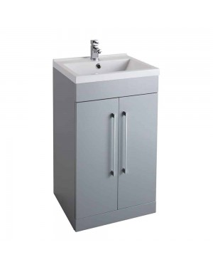 Luxury Grey 500 Bathroom Basin Sink Vanity Unit Cabinet Modern Square