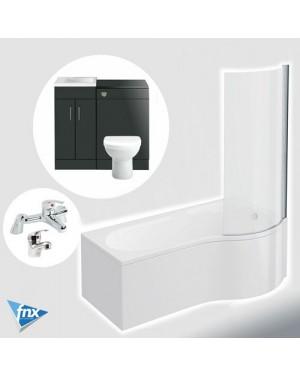 Lomond P Shape Right Hand Bathroom Suite Anthracite Vanity Unit BTW Pan Tap Set