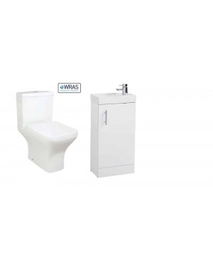 Bathroom Vanity Unit Tap & Waste - Close Coupled Pan Cistern & Seat