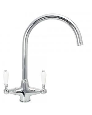 Reginox ELBE Chrome Kitchen Sink Tap Traditional Dual Ceramic Lever Designer