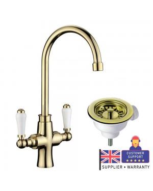 Moss & Britten Kitchen Sink Tap Polished Gold & Overflow Waste