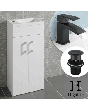 White Lomond 400mm Vanity Unit + Black Basin Tap / Waste Set