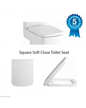 Square Soft Close Toilet Seat Top Fixing Easy Clean White Modern