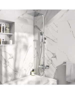 BATHROOM BLOCK RIGID RISER SHOWER WITH BATH FILLER MIXER TAP