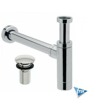 Modern Basin/Sink Bottle Trap & Unslotted Full Cover Clicker Basin Waste Chrome