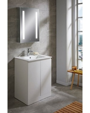 Bathroom Vanity Unit 600mm White Rothes Including Basin Mixer Tap & Waste