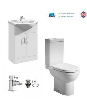 550mm Vanity Basin Sink Unit Cabinet Close Coupled Pan & Cistern Set