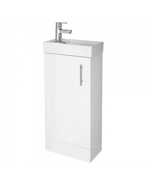 Modern White Cloakroom Bathroom 400mm Vanity Unit & Basin Sink Floor Standing