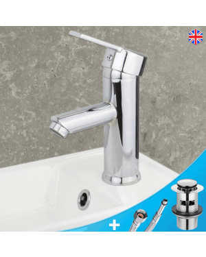 Round Basin Mixer Tap Incl Clicker Basin Waste