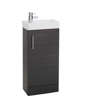Minimalist Compact 400mm Freestanding Vanity Unit & Basin Bathroom Cloakroom Black Ash