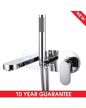 Modern Round Wall Mounted Bathroom Single Lever Bath Shower Mixer Tap & Hose Kit