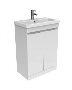 Bathroom Vanity Unit 600mm Floor Standing 2 Door Soft Close Vanity Unit Ceramic Basin 1 Tap Hole