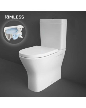 RAK Resort Maxi Comfort Raised Height 45cm Close Coupled WC Toilet Flush to Wall