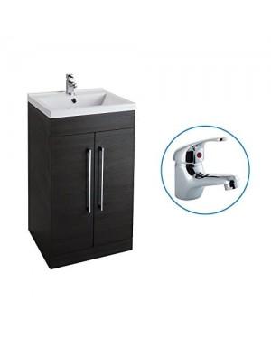 Black Ash 500mm Bathroom Basin Sink Vanity Unit Cabinet Modern Square Including FREE BASIN TAP (DOM)