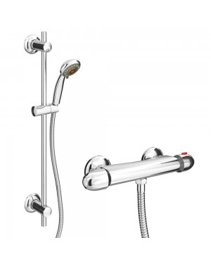 Chrome Thermostatic Round Bathroom Mixer Valve Bar Shower Kit Set **SALE**