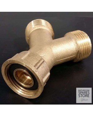 "Y Piece Dual Appliance Washing Machine 2 Way Fitting 3/4"" BSP Solid Brass"