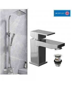 Luxury BLOCK Wall Mounted Bath Shower Mixer Tap Incl Kit & Form Basin/Sink Mixer Tap