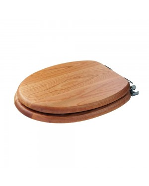 Croydex Bloomfield Traditional Oak Toilet Seat with Chrome Soft Close Hinges