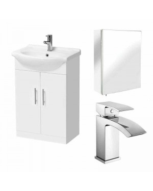 Gloss White 450 Bathroom Vanity Unit & Stainless Steel Mirror Cabinet & Tap