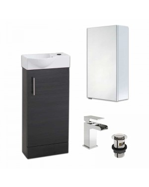 400 Black Slimline Unit & Mirror Cabinet With Tap